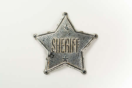 sheriff badge: Sheriff Badge Isolated on White Background with clipping path