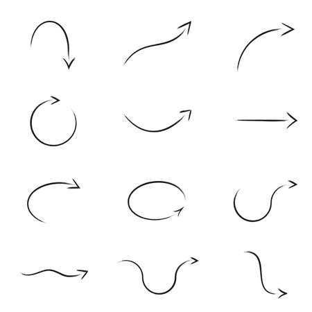 curved: Paintbrush Drawn Vector Set Arrow Collection