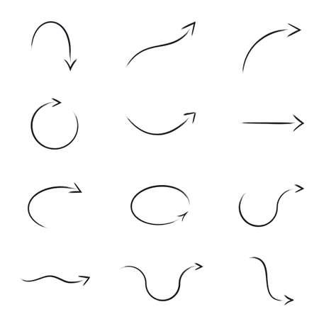 flechas curvas: Pincel dibujado conjunto de vectores Flecha Colección Vectores