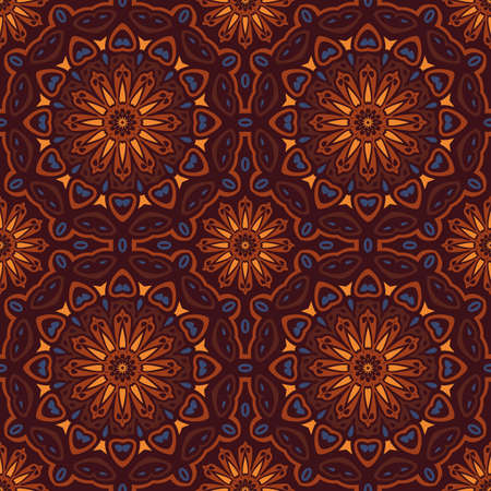 inspired: Earth Toned Oriental Inspired Seamless Pattern Vector Illustration