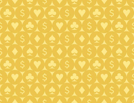 Card Suits and Dollar Sign Seamless Pattern  Illustration Çizim