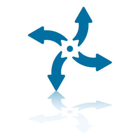 flechas curvas: Cuatro flechas curvas que señalan en N  S  E  W llegar Vectores