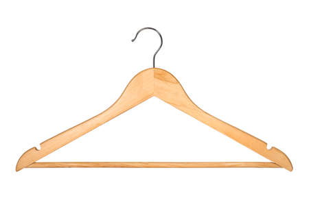 Wooden Coat Hanger Isolated on White Background (with clipping path) Banco de Imagens - 60225988