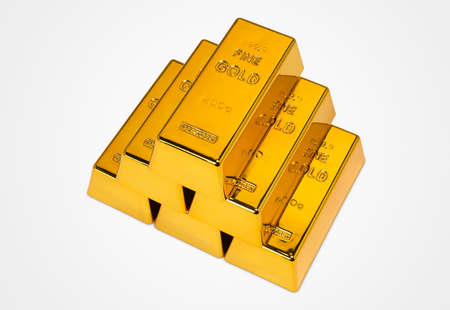 Gold Bars Isolated on White Background Photograph (with clipping path) Stok Fotoğraf