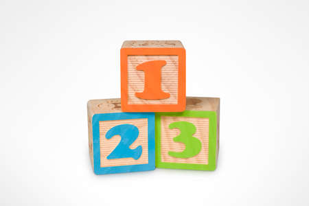 pedagogic: 1, 2, 3 Wooden Learning Blocks (with clipping path) Stock Photo