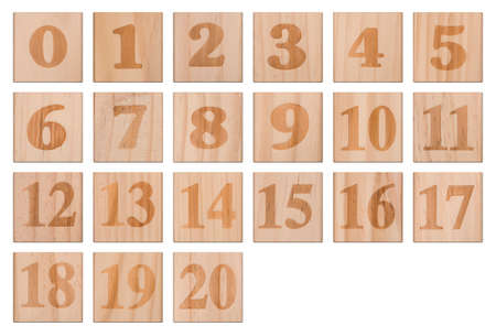 Engraved Numbers In Wooden Blocks Collection (with clipping path)