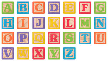 Painted Uppercase Letters In Wooden Blocks Collection