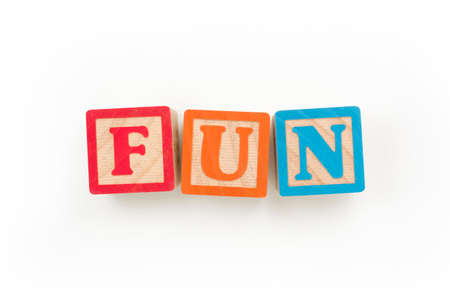 "Wooden Blocks Spelling ""FUN"" (with clipping path) Stok Fotoğraf"