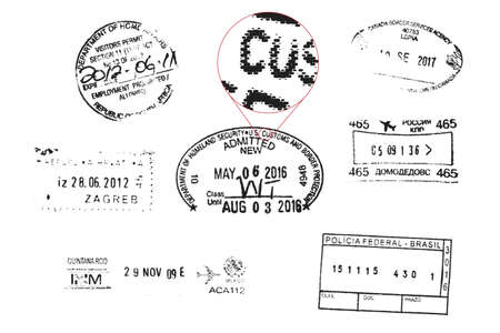 Vector Grunge Passport Stamps (all shapes are editable stroke lines) Çizim