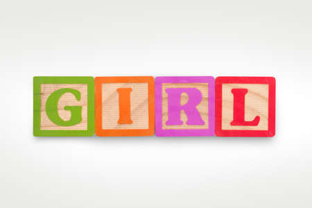 GIRL building blocks isolated on a white background