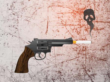 Gun With Cigarette and Skull Shaped Smoke Bitmap Illustration