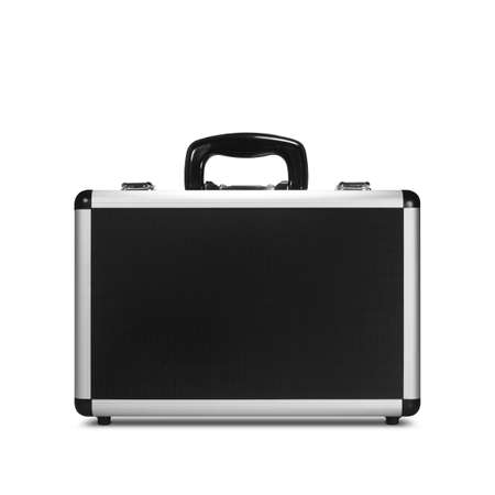 Front View of Closed Metal Briefcase Isolated on White Background (with clipping path) 写真素材