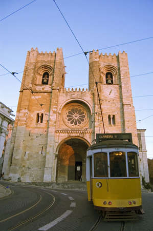 tramcar at the Sé in the historical part of lisbon Editorial
