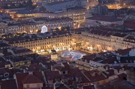 Lisbon, square at the downtow, season chirstmas