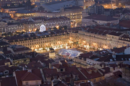 untitled key: Lisbon, square at the downtow, season chirstmas
