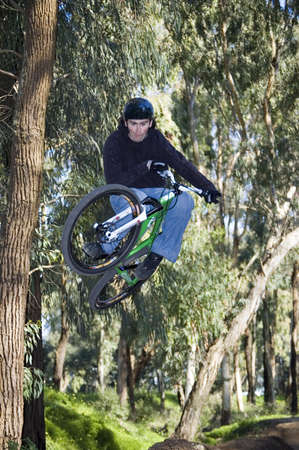 extreme riders flying with they bikes Stock Photo