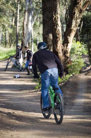 biker riding is bike