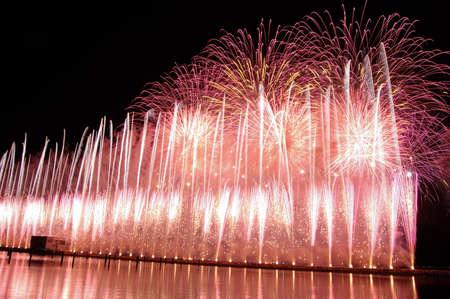 firework near the tagus river at lisbon, Portugal