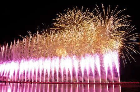 demonstration of fireworks near the river