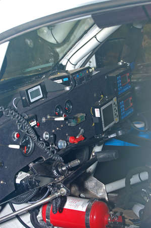 deficient: interior of a rally car adapted for a deficient  person Stock Photo