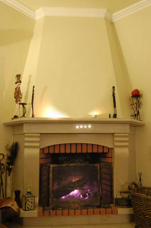 fireplace at a traditional Portuguease house Stock Photo