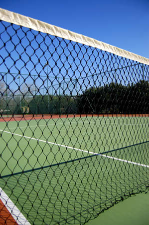vertical view tennis court and net Stock Photo