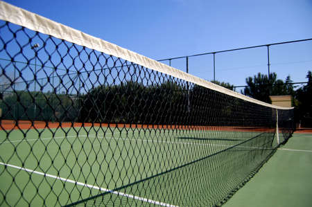 side view of tennis court net Stock Photo