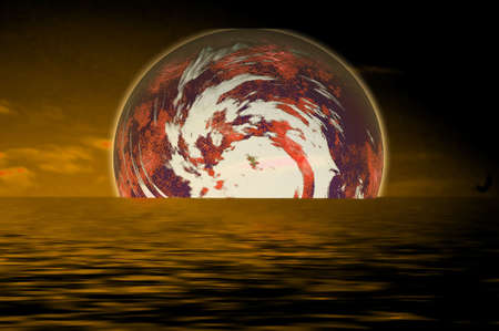 scenario: space scenario with water reflection Stock Photo