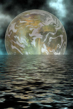 space scenario with water reflection Standard-Bild