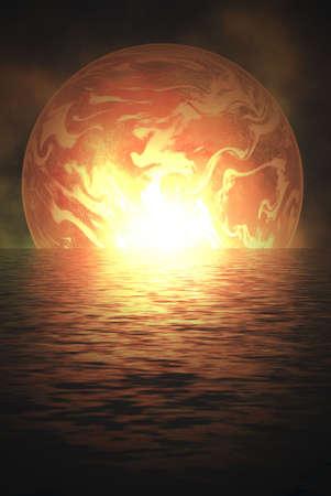scenario: space scenario at sunset water reflection