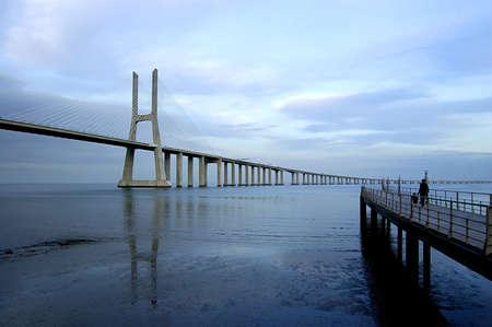 Vasco da Gama Bridge over the tagus river is the largest bridge in all Europe Stock Photo - 758137
