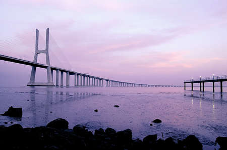 Vasco da Gama Bridge over the tagus river is the largest bridge in all Europe Stock Photo - 758154