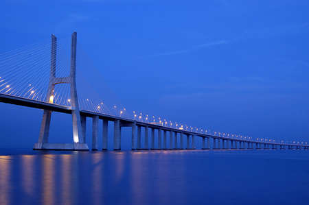 Vasco da Gama Bridge over the tagus river is the largest bridge in all Europ Stock Photo - 758151