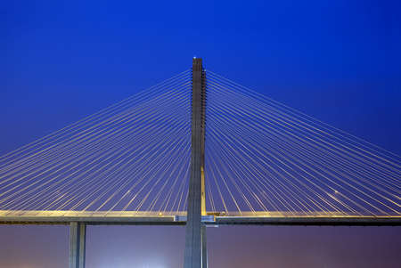 Vasco da Gama Bridge over the tagus river is the largest bridge in all Europ Stock Photo
