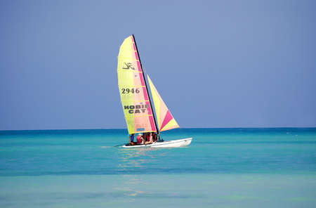 sailing boat at tropical beach Varadero, cuba