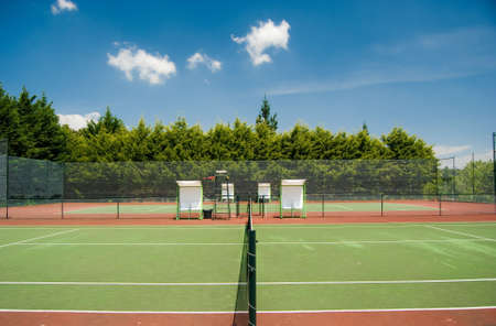 tennis court in a summer day