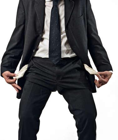 Geschäftsmann mit leeren Taschen, Konzept des Scheiterns, moneyless, weißen Hintergrund  Standard-Bild - 3041150