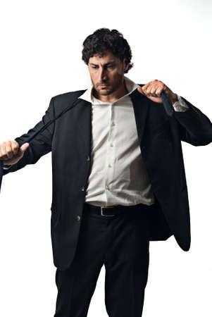 Mode und schweren Geschäftsmann auf weißem Hintergrund Standard-Bild - 3050750