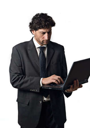 Unternehmer über das Internet Zugriff auf www, weißen Hintergrund Standard-Bild - 3069063
