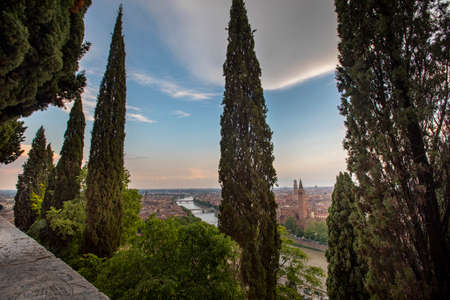 View of the city of Verona with the river Adige on a sunny late afternoon, Italy