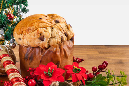 Panettone with chocolate, traditional Italian dessert cake for Christmas. With white background.