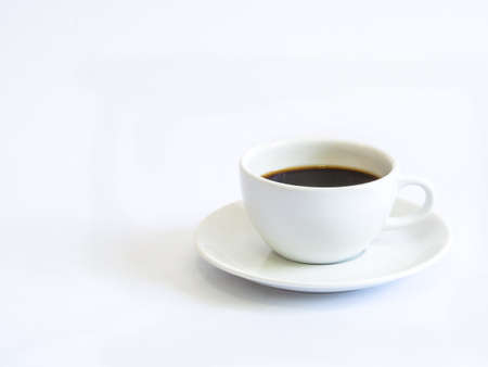 White cup coffee on white background