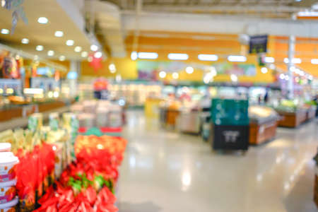 Shopping mall or department store with blurred background and bokeh light Stock Photo