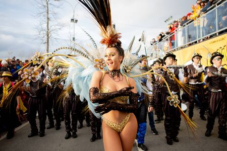 Ovar, Portugal - March 3: Group Charanguinha during the Carnival Parade on March 3, 2019 in Ovar, Portugal