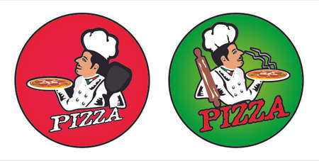stylized drawing of a pizza chef Vettoriali