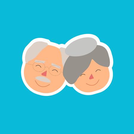 Grand Parents Day Illustration Faces Together Illustration