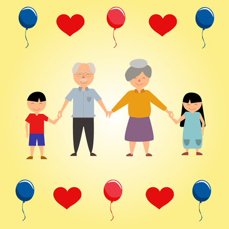 Grandparents Day Illustration with children hearts and baloons