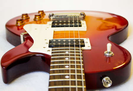 Guitar model Les Paul, red and yellow