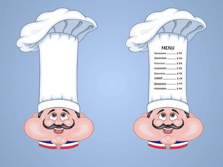 French Chef Hat Menu is an vector based illustration document. In this cartoon design is two different objects with menu text and without menu text. The menu text types were converted to outlines and do not need any fonts. The document has different layers and all the layers are convenient to use without the background.
