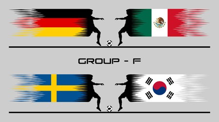 2018 Football Country Group - F The text types were converted to outlines and do not need any fonts. All the objects are in different layers and each one can use without background and other objects. Ilustração